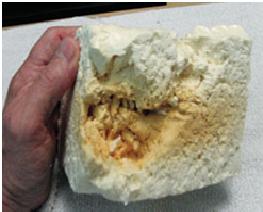 سوختن فوم پلی یورتان در اثر افزودن بیش از حد مواد کند سوز